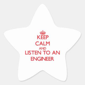 Keep Calm and Listen to an Engineer Star Sticker