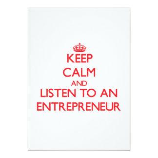 Keep Calm and Listen to an Entrepreneur 13 Cm X 18 Cm Invitation Card