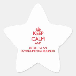 Keep Calm and Listen to an Environmental Engineer Star Sticker