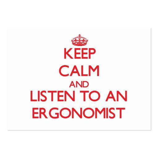 Keep Calm and Listen to an Ergonomist Business Card Template
