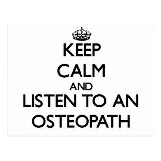 Keep Calm and Listen to an Osteopath Postcard