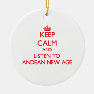 Keep calm and listen to ANDEAN NEW AGE Christmas Tree Ornament