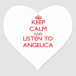Keep Calm and listen to Angelica Heart Sticker