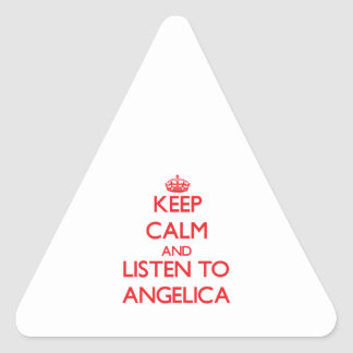 Keep Calm and listen to Angelica Triangle Stickers