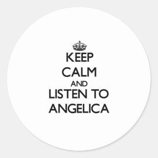 Keep Calm and listen to Angelica Round Sticker