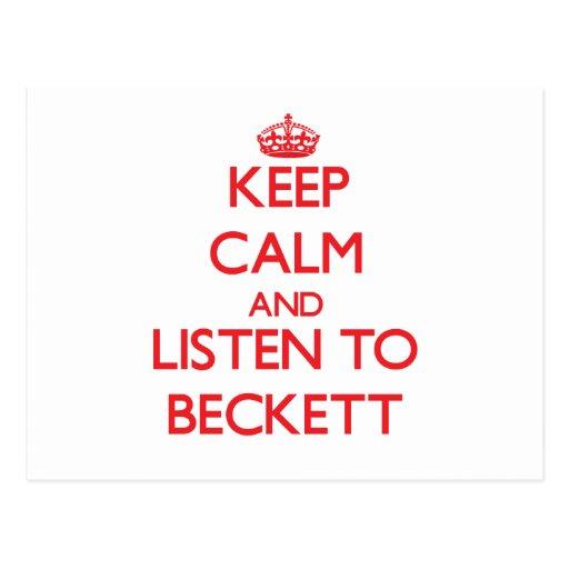 Keep Calm and Listen to Beckett Post Cards