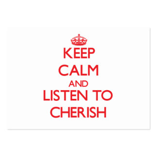 Keep Calm and listen to Cherish Pack Of Chubby Business Cards