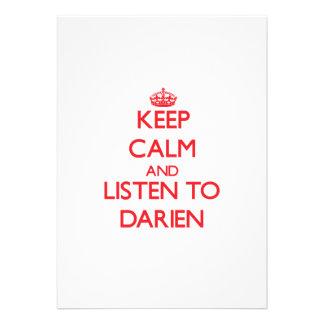 Keep Calm and Listen to Darien Custom Invitations