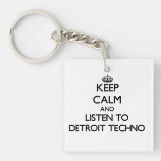 Keep calm and listen to DETROIT TECHNO Acrylic Keychains
