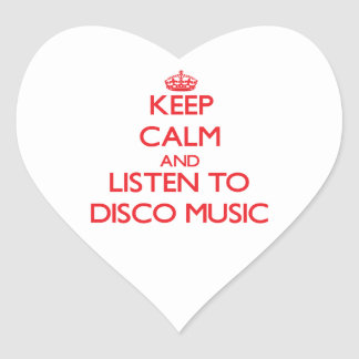 Keep calm and listen to DISCO MUSIC Heart Sticker