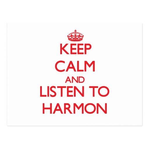 Keep calm and Listen to Harmon Postcards