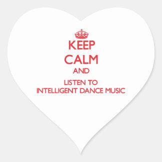 Keep calm and listen to INTELLIGENT DANCE MUSIC Heart Sticker