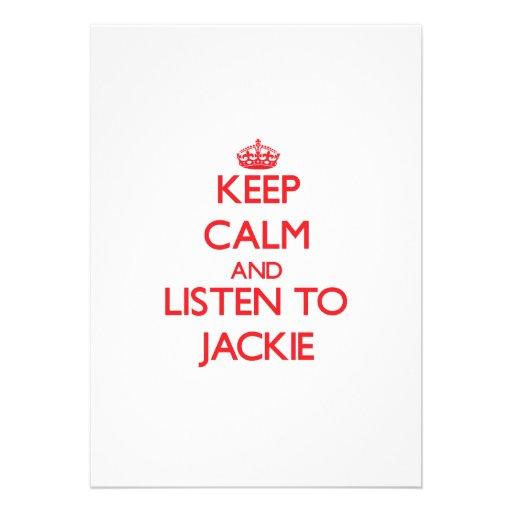 Keep Calm and Listen to Jackie Custom Invite