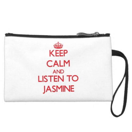 Keep Calm and listen to Jasmine Wristlet Purse