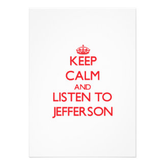 Keep Calm and Listen to Jefferson Personalized Invite