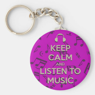 keep calm and listen to music key chain
