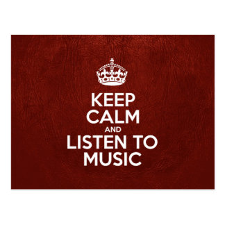 Keep Calm and Listen to Music - Red Leather Postcard