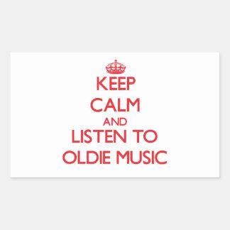 Keep calm and listen to OLDIE MUSIC Rectangular Sticker