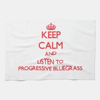 Keep calm and listen to PROGRESSIVE BLUEGRASS Tea Towel
