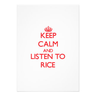 Keep calm and Listen to Rice Personalized Invite