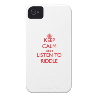 Keep calm and Listen to Riddle iPhone 4 Cases