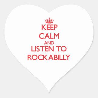 Keep calm and listen to ROCKABILLY Heart Sticker