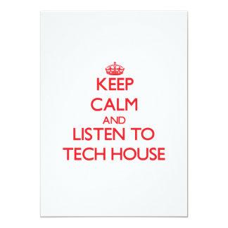 "Keep calm and listen to TECH HOUSE 5"" X 7"" Invitation Card"