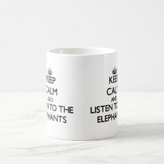 Keep calm and Listen to the Elephants Basic White Mug