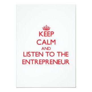 Keep Calm and Listen to the Entrepreneur 13 Cm X 18 Cm Invitation Card