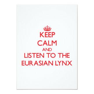 Keep calm and listen to the Eurasian Lynx 13 Cm X 18 Cm Invitation Card