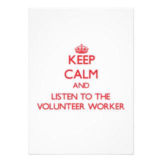 Keep Calm and Listen to the Volunteer Worker Custom Invitation