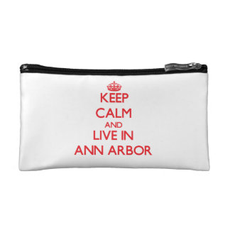 Keep Calm and Live in Ann Arbor Cosmetics Bags