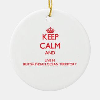 Keep Calm and live in British Indian Ocean Territo Round Ceramic Decoration