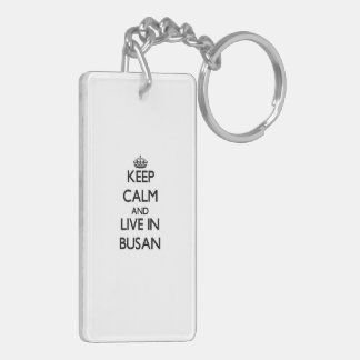 Keep Calm and live in Busan Double-Sided Rectangular Acrylic Key Ring