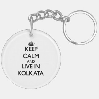 Keep Calm and live in Kolkata Double-Sided Round Acrylic Key Ring