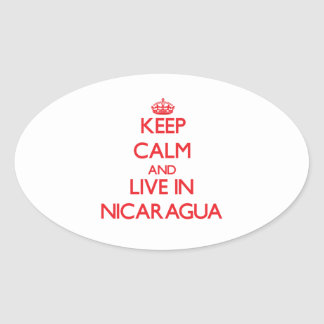 Keep Calm and live in Nicaragua Oval Stickers