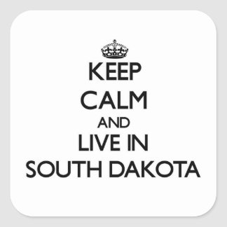 Keep Calm and Live In South Dakota Square Stickers
