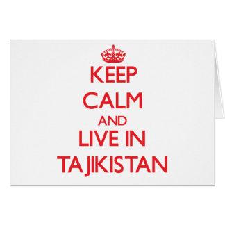Keep Calm and live in Tajikistan Greeting Cards