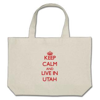 Keep Calm and live in Utah Bags