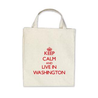 Keep Calm and live in Washington Canvas Bag