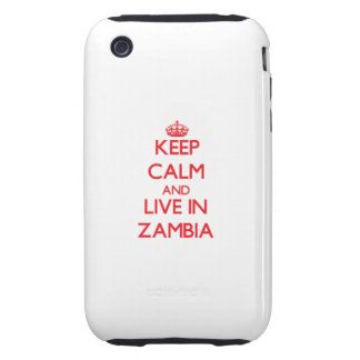 Keep Calm and live in Zambia Tough iPhone 3 Cases