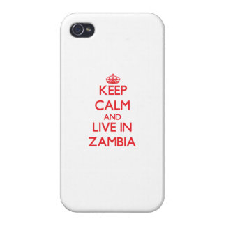 Keep Calm and live in Zambia Covers For iPhone 4