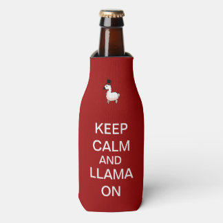 Keep Calm and Llama On Bottle Cooler