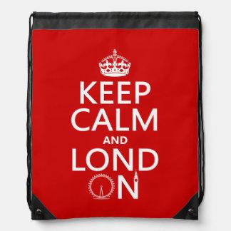 Keep Calm and Lond On (London) Drawstring Bag