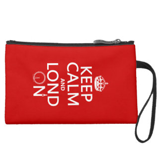 Keep Calm and Lond On (London) Suede Wristlet