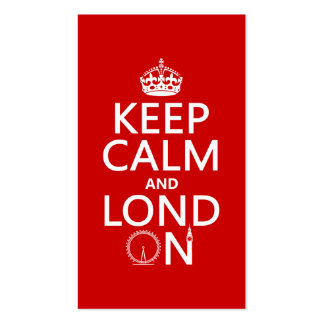 Keep Calm and London (Lond On) (any background) Pack Of Standard Business Cards