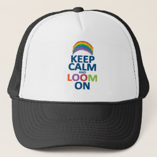 KEEP CALM AND LOOM ON RAINBOW TRUCKER HAT
