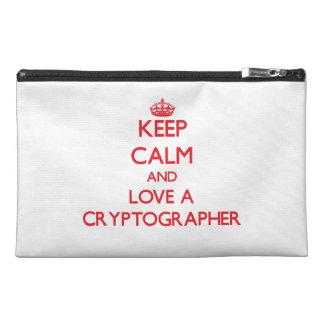 Keep Calm and Love a Cryptographer Travel Accessory Bag