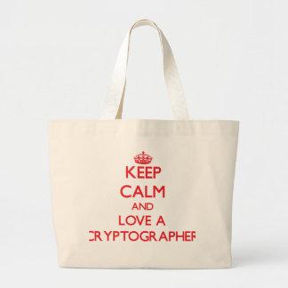 Keep Calm and Love a Cryptographer Canvas Bag