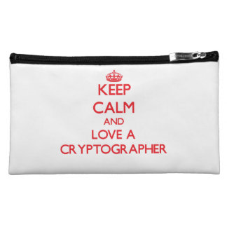 Keep Calm and Love a Cryptographer Cosmetics Bags